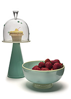 Polka Dot Dessert Stand & Footed Bowl